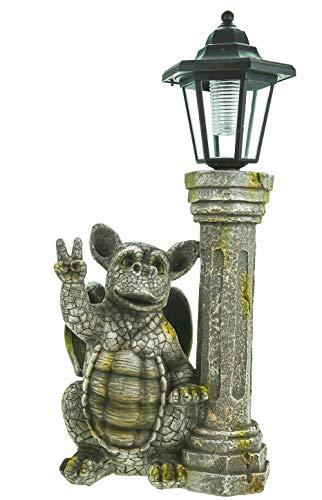 Kremers Schatzkiste Gartenfigur Drachenkind Peacezeichen mit Solar Laterne Drache Figur Gargoyle