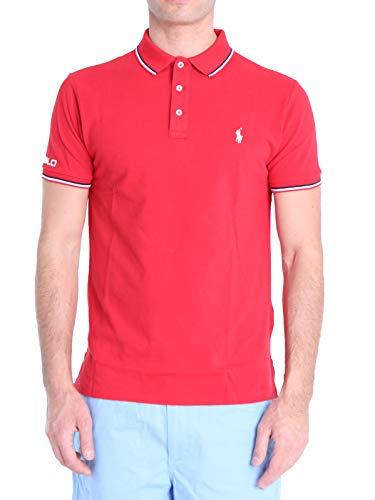 Polo Ralph Lauren Mod. 710792813 Poloshirt Piqué Kurze Ärmel Slim Fit Herren Rot L