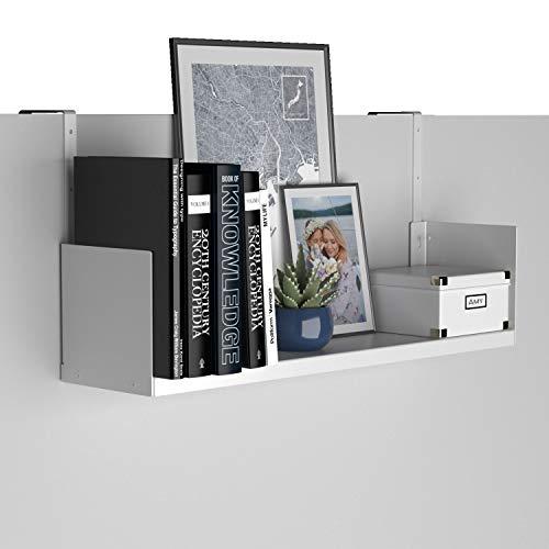 Wallniture Bali Cubicle Organizer, Metal Bookshelf with Buro Hanger Cubicle Hooks, White