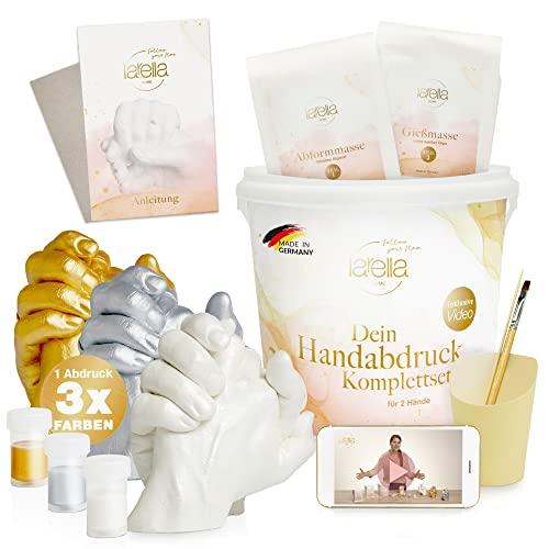 larella 3D Handabdruck-Set für Paare - mit 3 Farben - MADE in GERMANY - Gipsabdruck-Set für DIY Hände-Skulptur - Geschenk-Idee für Pärchen & Familie