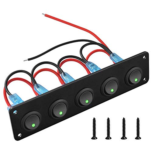 El panel del interruptor de la prenda impermeable del eje de balancín de 5 cuadrillas, el panel del interruptor de palanca del verde LED 12-24V para barco yate marino