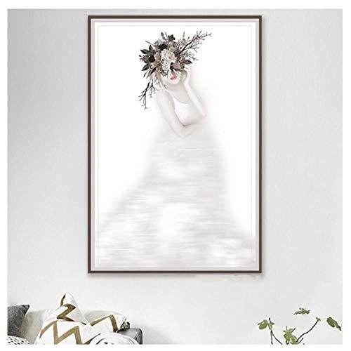 Preisvergleich Produktbild Wwjwf Wandkunst Leinwand Malerei Hd-Drucke Modulare Bilder Sexy Mädchen Schwimmen Blume Home Decoration Nordic Style Poster Für Schlafzimmer-60X80Cm-Kein Rahmen A.