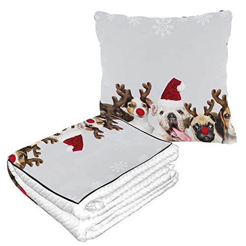 Hundebekleidung, Weihnachtskostüm, Flugzeugkissen und Decke, Set, warm, weich, 2-in-1 Kombi-Kissen, Decke, für Reisen, Camping, Autoausflüge, Reisekissen, Decke für jede Reise