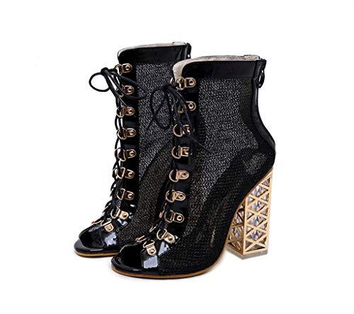 ZQXDMM Coole laarzen met kristaldikke riempjes en vismondsandalen met hoge haken.