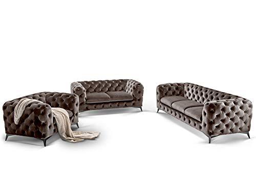 Moebella Designer Chesterfield Sofagarnitur 3-2-1 Big-Emma Samtstoff Knöpfung Modern Designer Couches (Grau-Silber)