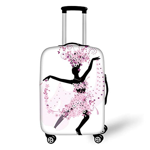 Travel Luggage Cover Suitcase Protector,Latin,Silhouette of a Woman Dancing Samba Salsa Latin Dances Spain and Mexico Culture Print Decorative,Pink Black,for Travel,S