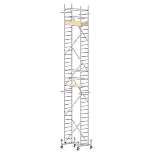 ALTEC Rollfix 1000-S, Arbeitshöhe 10 m neu, inkl. 150 mm Rollen höhenverstellbar, Made in Germany, Alu Gerüst Aluminium Rollgerüst Fahrgerüst Baugerüst Zimmergerüst Arbeitsplattform Arbeitsbühne