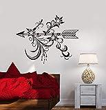Calcomanía de pared flecha dormitorio sala de estar decoración del hogar arte mural papel tapiz con flor estilo étnico dormitorio decoración pegatina A6 53x42cm