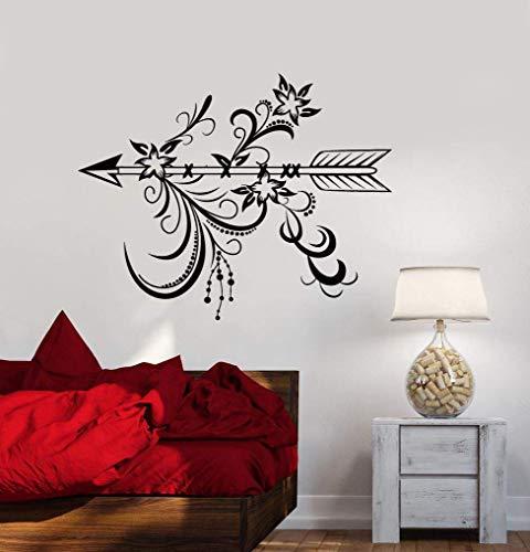 Calcomanía de pared flecha dormitorio sala de estar decoración del hogar arte mural papel tapiz con flor estilo étnico decoración del dormitorio pegatina otro color 53x42cm
