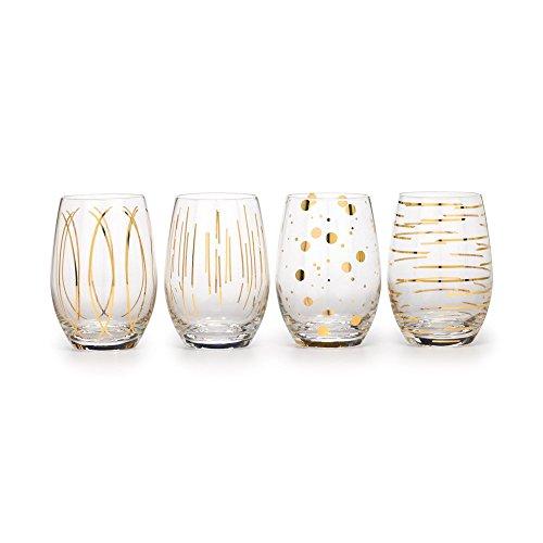 MIKASA - Copas de cóctel para brindis, 290 ml, Juego de 4 Unidades, Dorado, 19.5 x 20 x 14 cm