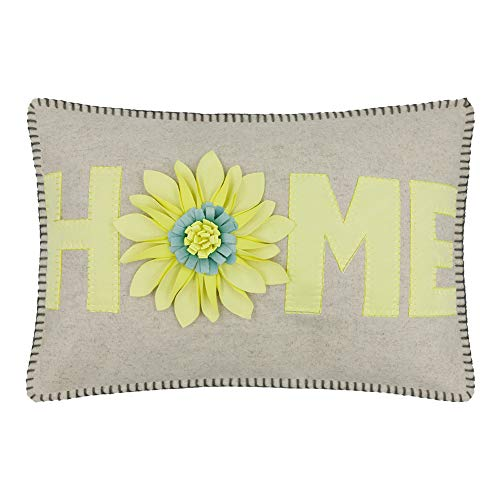 JWH 3D Sunflower Accent Pillow Case Handmade Cushion Cover Decorative Stereo Embroidery Pillowcase Home Bed Living Room Office Chair Couch Decor Sham Gift 14 x 20 Inch Light Yellow