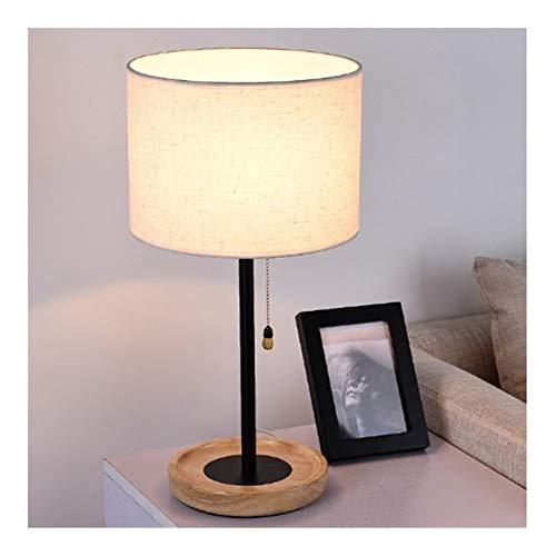 SCH Tischlampe, Nordic Holz Tischlampe Stoff Lampenschirm Schlafzimmer Nachttischlampe mit Zugschalter romantische Dekoration Haushalt Schreibtischlampe (Color : White)