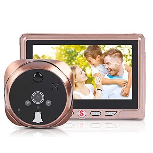 ZCZZ Visor de Puerta Digital LCD HD de 4.3 Pulgadas Cámara de Visor de Puerta con Mirilla Inteligente con Mensaje de visitante/Visión Nocturna por Infrarrojos/Detección de Movimiento/Gran a
