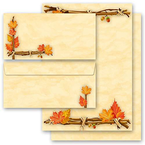 Briefpapier Set, 20 tlg. Jahreszeiten - Herbst, HERBSTGOLD 10 Blatt Briefpapier + 10 passende Briefumschläge DIN LANG ohne Fenster | Paper-Media