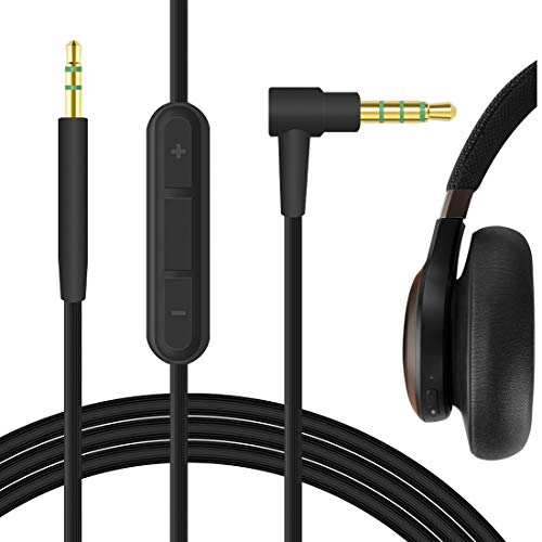 Geekria QuickFit Audio Cable with Mic for JBL E45BT E40BT E55BT E30 650BTNC E65BTNC Headphones, 2.5mm Replacement Stereo Cord with Microphone and Volume Control (Black 5.6FT)