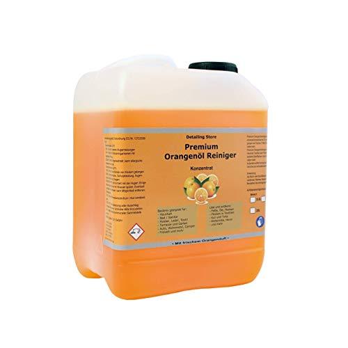 Orangenreiniger Konzentrat Premium Orangenöl Reiniger Intensiv Fettlösend Fleckentferner Fettlöser Bodenreiniger Universalreiniger Kraftreiniger (5 Liter)