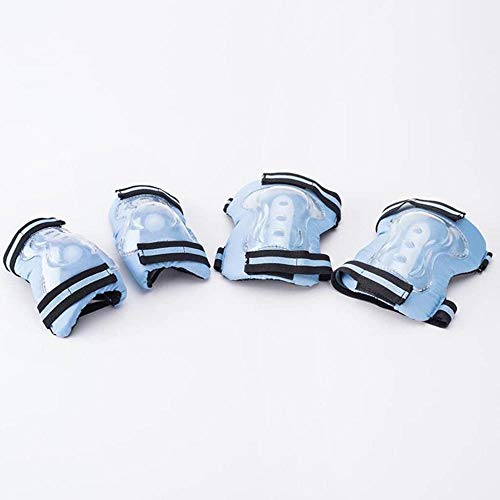 KRXLL Protecteur de Scooter Enfant Six Ensembles de protège-Coudes Brassards Genouillères Chaussures à roulettes Tombantes-Bleu_M