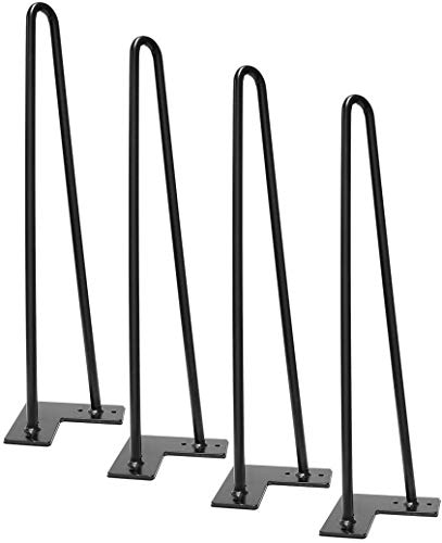 Signstek 4 Patas de la mesa Hairpin Patas a Horquilla Para Mesa de Acero Robustas Con Tornillos y Bases Protectoras (19 inch)