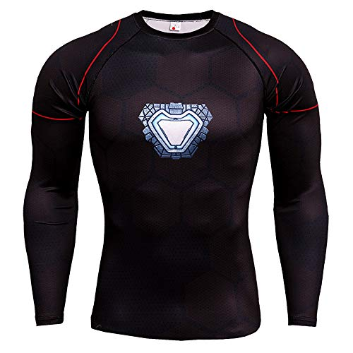 Men's T-Shirts Long Sleeve Ironman Compression Sports Tops Body Shaped Fitness Dry-Fit Tee for Gym Running