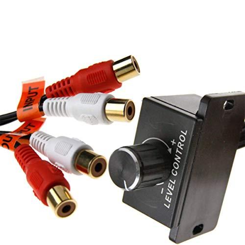 Garneck Auto-Lautstärkeregler Universal wiederverwendbare Audio-Fernbedienung Bassknopf Sub-Amp Lautstärkeregler Kabel-Lautstärkeregler Zubehör mit 2 Cinch-Stecker für das Auto