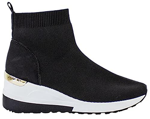 Skarpeta koturn trampki kostki wygodne wsuwane czółenka buty damskie wysokie topy damskie moda bloger styl buty, - Czarny - 35 EU