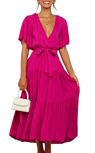 Theenkoln Women's Wrap V Neck Belted Waist Flowy Solid Color Short Sleeve Pleated Maxi Dress Rose Red Medium