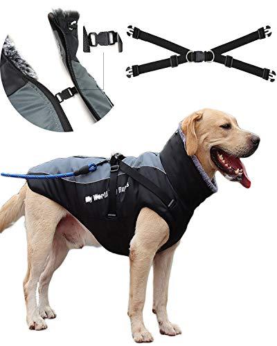 CHONGYA Wasserdichter Hundemantel Grosse Hunde Warme Hundejacke Hundeweste Winter Hundepullover warme Mantel Hund Weste Winddicht mit Brustgeschirr XL-6XL