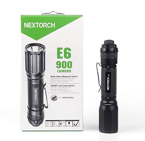 Lampe de poche Nextorch E6 E6 Ampoule LED avec clip ceinture, avec dragonne, avec interface USB, réglable à batterie 900