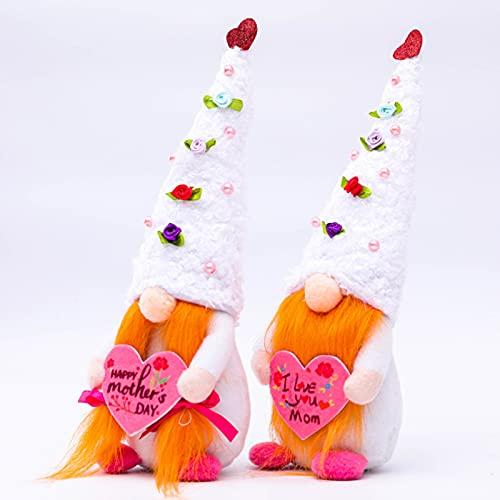 NIUXICH 2 Stück gesichtslose Puppen Dekoration Muttertag Zwerge Puppen Baumwolle Tuch Puppe Desktop Ornamente für Home Office Zimmer Decor Frühling Sommer Dekoration