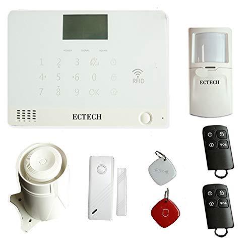 ECTECH sistema de alarma de llamadas móviles GSM, sistema de alarma antirrobo de seguridad para el hogar, con sirena, detector PIR, sensor de ventana de puerta, tarjetas RFID