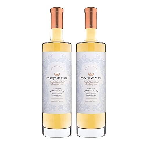 Vino Blanco Principe de Viana Chardonnay y Vendimia Tardia de 50 cl - D.O. Navarra - Bodegas Principe de Viana (Pack de 2 botellas)