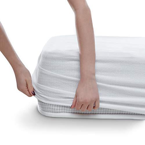 Wasserdichter Matratzenschoner Atmungsaktiv Schutz mit Rundumbezug 100 cm x 200 cm Matratzenauflage ohne Knistern, Baumwolle Matratzenschutz