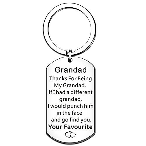 QMVMV Grandad Gifts Grandad Keyring from Granddaughter Grandson Christmas Birthday Thanksgiving Father's Day Present