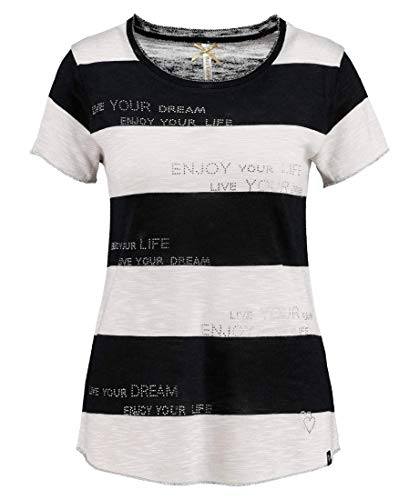 KEY LARGO Jessy Round Camiseta, Blanco/Negro, S para Mujer