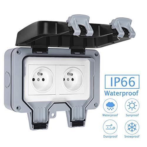 Schutzkontaktsteckdosen, Französischer Standard, Wasserdicht, für Außen, IP66, 16 A