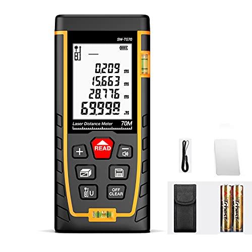 Medidor Láser, Telémetro Láser, Metro Laser de ±1.5mm Precisión, con 2 Niveles de Burbuja y Pantalla Retroiluminada LCD,para Medición de Distancia, Área y Volumen, IP54-100m