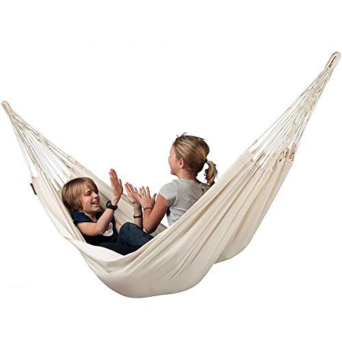 SHFAMHS Hamaca para Acampar, cómoda Hamaca de Lona Tejida Hecha de Tela de algodón, Funciona como una Hamaca para Interiores y Exteriores, relájese en casa en Esta Hamaca para 2 Personas