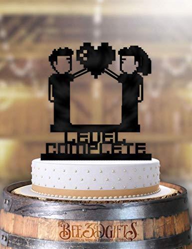 Gamer Level Complete Ding Wedding Cake Topper