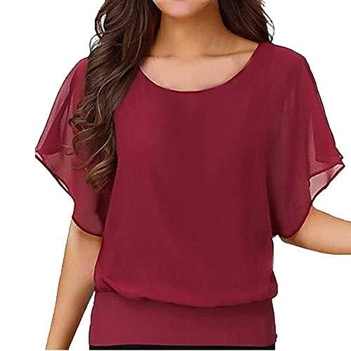 IHEHUA Einfarbig T-Shirts Damen Tank Top Chiffon Tee Spitzen Batwing Sexy Transparent Weste Rundhals Freizeit Elegante Blusen Tuniken Tops(Wein,XXXXXL)