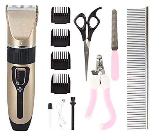 JKFZD Rechargeable Cordless Pet Grooming Clippers, Dog Grooming Clippers with 4 Comb Professional Accessories (Color : Set Meal B)