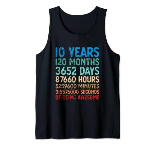 10 años 120 meses de ser impresionante décimo cumpleaños vintage Camiseta sin Mangas