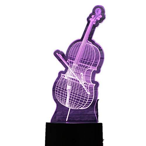 KangYD 3D Nachtlicht Musik Gitarre Violine, LED Atmosphere Lampe, Neuheit Geschenk, Raumbeleuchtung, Schlafzimmer Lampe, 7 Farbwechsel,4 - Remote Crack White (7 Farbe)
