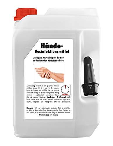 SONAX HändeDesinfektionsMittel (5 Liter) - effektives Schütz gegen Viren und Bakterien. Ideal zur täglichen Anwendung. Sanft auf der Haut, mit Glycerin | Art-Nr. 04025000