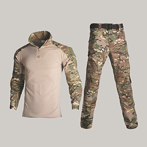SONGXM Taktische Kleidung Special Forces Camouflage Außen Army Frog Man Anzug Set Tactical Training Bekleidung Herren Kampf T-Shirt E-M+34