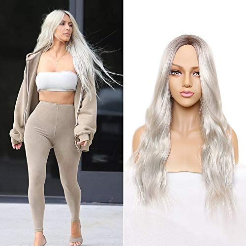 Platinum Blonde Wig Synthetic Long Curly Wavy Wig 28 inch Middle Parting Wig Ombre Color Wig for Women Daily Party Full Wigs