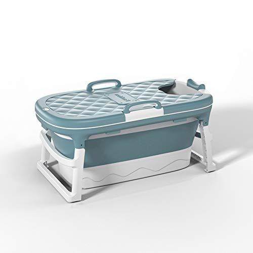 SYN-GUGAI Bañera de bebé Plegable portátil de SPA para Adultos portátil | Recién Nacido/Niños/Infantil Plegable Baño/Ducha Bañera | Antideslizante,Blue115*62 * 52cm-with Lid