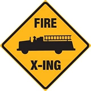 Fire Truck X-ing Tin Sign