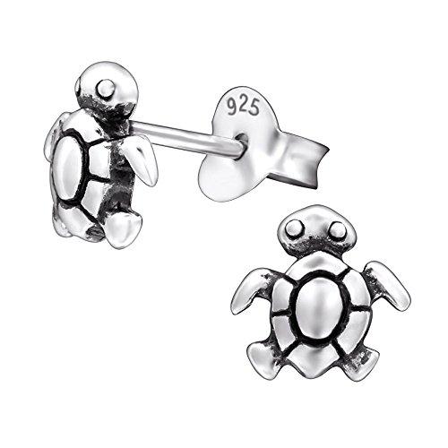 Laimons Mädchen Kids Kinder-Ohrstecker Ohrringe Kinderschmuck Schildkröte Tier oxidiert aus Sterling Silber 925