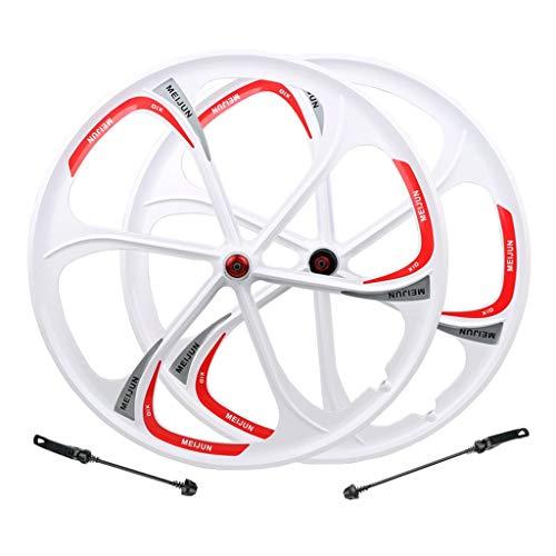 VHHV MTB Coppia Ruote Bici 26 Pollici Ruota Anteriore/Posteriore QR per 7/8/9/10/11 velocità Cassetta - Bianca (Color : Wheelset)