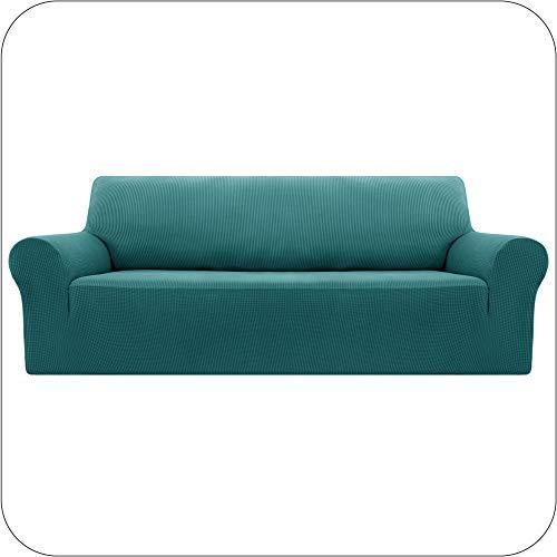 Amazon Brand - Umi Funda Sofa Suave Elastica de Color Liso 4 Plazas Turquesa
